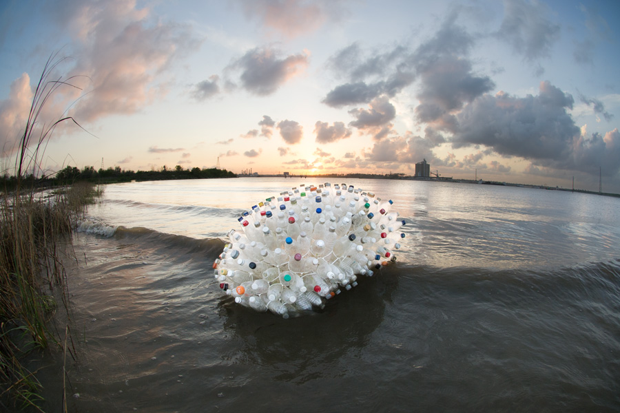 plastic bottle art human debris